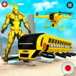 Flying School Bus Robot Hero Robot Games 22 MOD Unlimited Money for android