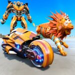 Lion Robot Transform Bike War Moto Robot Games 1.5 MOD Unlimited Money for android